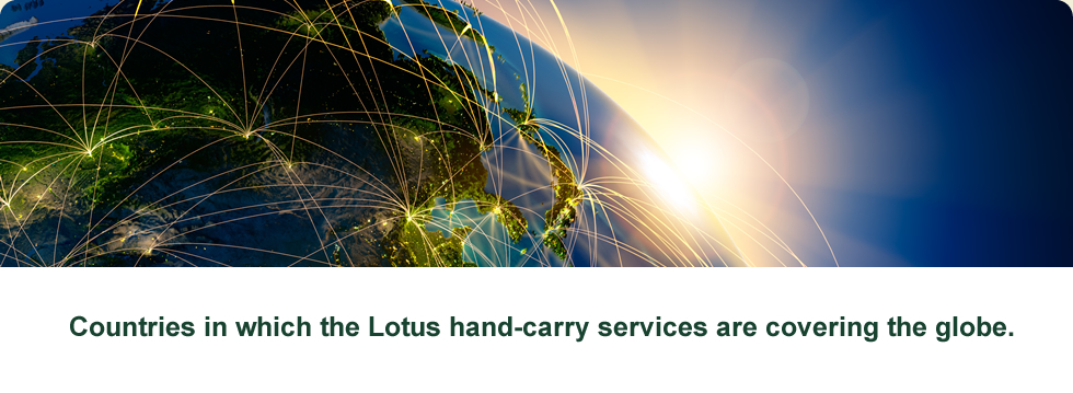 Countries in which the Lotus hand-carry services are covering the globe.
